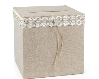 Wedding Reception Card Box Rustic Burplap
