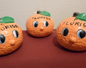 Florida Oranges Salt and Pepper Shakers with matching Toothpick holder