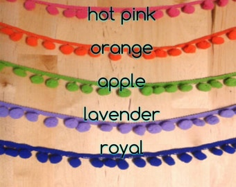 Pom pom Trim, Pompom Fringe, Fun trim for party decorations, streamers, and more! Pink, orange, green, purple, blue, by the yard