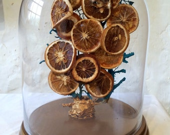 Creation of a globe of deoration with dried oranges, handmade, unique piece.