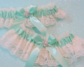 Mint Green Wedding Garters, Wedding Garters, Bridal Garters