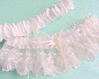 Wedding Garter Set, Beaded Wedding Garter Set in White