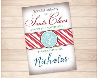 Printable 'Special Delivery from Santa Claus' DIY Gift Tags or Stickers - Personalized Name - Editable PDF - Christmas North Pole Gift Tags