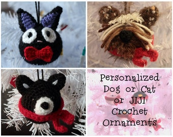 PERSONALIZED DOG or CAT or Jiji Crochet Christmas Ornament with Festive Scarf or Bow - Custom made to your photo!