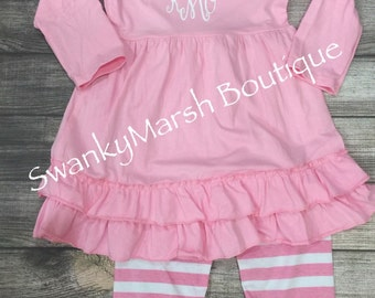 Pink and white girls boutique outfit, Pink tunic top with pink and white stripe ruffle pants, can add initials for no additional cost