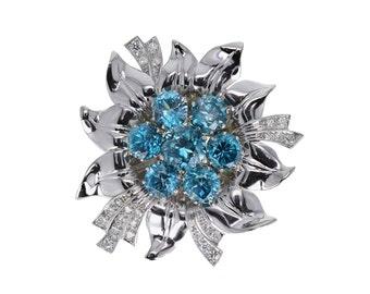 Vintage Retro Blue Zircon & Diamond Brooch in Platinum
