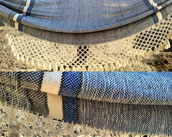 King Size Hammock Luxury blue knotted fringe hammock
