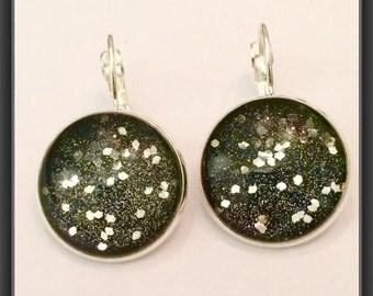 Glitter ultra star cabochon earrings