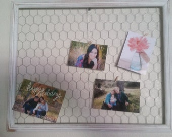 Rustic chicken wire frame. Distressed frame. White picture frame.
