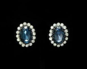 Stunning Kramer-style Blue Rhinestone Clip-on Earrings