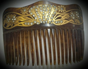 Victorian 22 kt. Gold inlaid hair comb