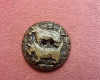 Wooden Scotty Dog button