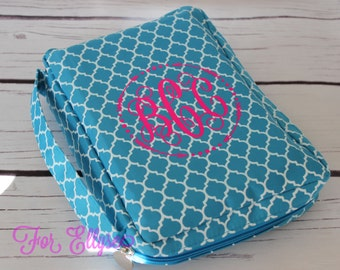 Turquoise Quatrefoil Bible Carrying Case - soft sided Bible cover