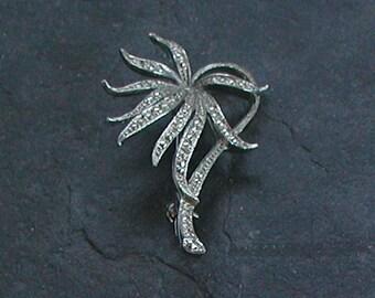 Vintage Silver Tones Marcasite Palm Tree Brooch