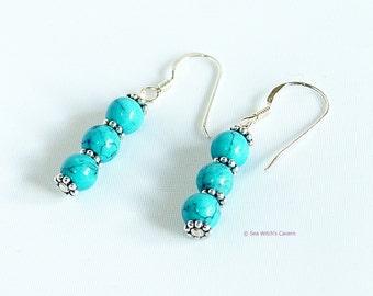 Turquoise Earrings Sterling Silver   Dainty Earrings   Mum Earring Gift   December Birthstone Earrings    Gemstone Drop Earrings   A0300