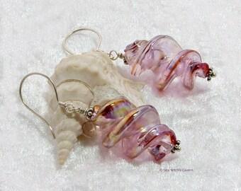 Dangly Lampwork Earrings | Pink Glass Earrings | Earring Gift Idea | Glass Jewellery | Glass Spiral Earrings | Earrings For Mum | A0343