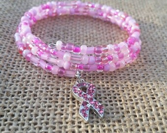 Pink memory wire breast cancer awareness bracelet, pink bracelet,  pink jewelry