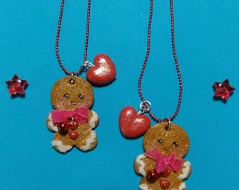 Gingerbread man necklace in fimo