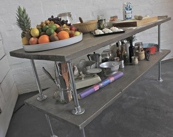 Deanna Reclaimed Grey Washed Scaffolding Board Kitchen Island Unit with Galvanised Steel Pipe - Bespoke Furniture by www.urbangrain.co.uk