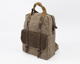 Vintage Style Heritage Leather Canvas Backpack - Khaki