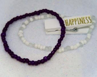 Purple and White Beaded Bracelets Happiness Love Boho
