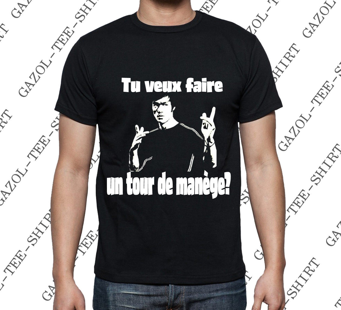t shirt tu veux faire un tour de man ge tee shirt bruce lee id e cadeau noel anniversaire homme. Black Bedroom Furniture Sets. Home Design Ideas