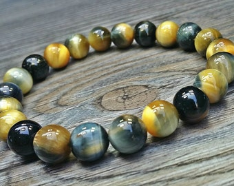Hand made bracelet yellow and blue tiger's eye 6mm