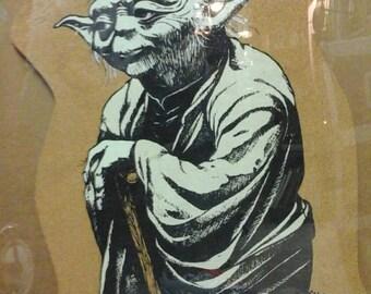 1980 Yoda Screenprint on Cork/cardboard