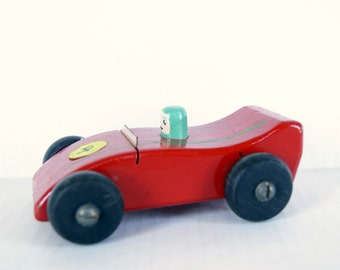 Vintage Wood Wooden Toy Race Car, Race Car Driver, Mid Century Toy, Red Race Car, Old 1960s Toy Nostalgic