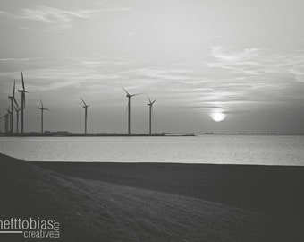 Wind Turbines in Termunten, Netherlands, Nature Photography, Wind Energy Photo Farmhouse Decor Alternative Energy Travel Photography Sunset