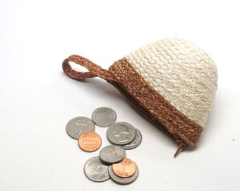 Sisal coin purse, small bag, zipper pouch, change purse, small wallet for women, gift for girls, coin wallet