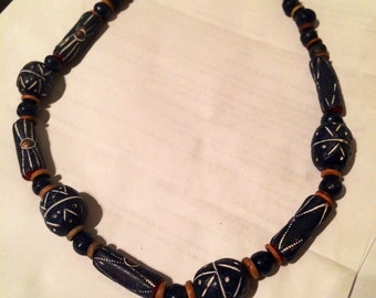 carved wood beaded necklace