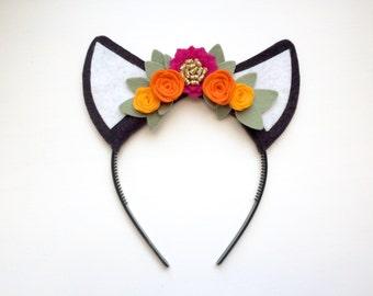 Felt Cat Kitten Ear headband - fuchsia, orange and yellow flowers with glitter gold and green leaves