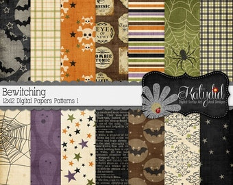 Halloween Digital Paper Bewitching Digital 12x12 Patterns 1 Holiday Seasonal Papers and Backgrounds for INSTANT DOWNLOAD