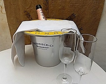 Retro Vintage French Heidsieck & Co Monopole Polished Aluminium Champagne Ice Bucket With Yellow Rimmed Top, Anniversary, Mothers Day.