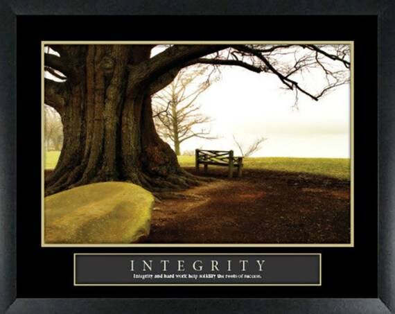 Integrity Bench Motivational Poster Framed or Unframed Home