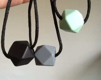 Hexagon Gem Chew Bead Sensory Stimming Necklace
