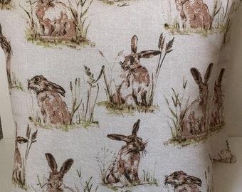 """2 x 22"""" (55cm x 55cm) Hares Linen Look Cotton Cushion Covers"""