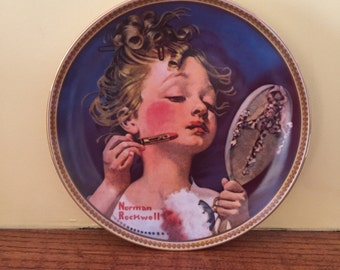 "Vintage Norman Rockwell Limited Edition ""Making Believe at the Mirror"" Display Plate"