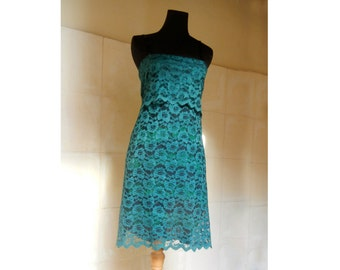 green dress in brocade, adjustable size