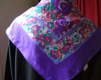Scarf Silk Vintage Purple Floral Scarf with Pink and Green