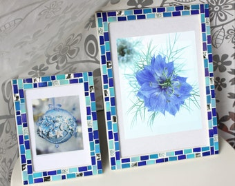 blue frame set 5x7 frame 8x12 frame mosaic frame set picture frame 5x7 photo frame 8x12 blue frame blue photo frames