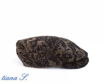 Cap / flat CAP, cord velvet, brown-black, size 54-56 cm