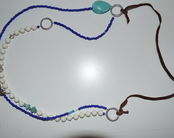 Blue white leather with silver and turquoise accents necklace