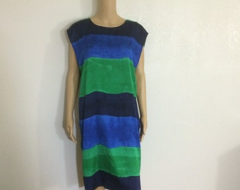 CLEARANCE Large Color block / Blue and Green / ColorBlock Striped Dress large Loose / Size 12