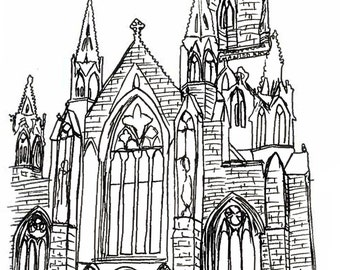 Salford Cathedral, Chapel Street, Manchester - Bespoke watercolour card/print