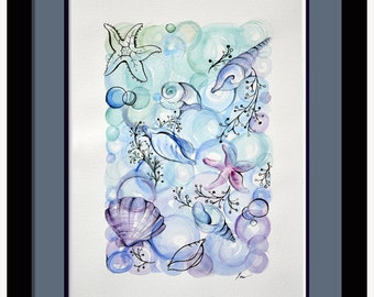 original watercolor painting, seashell original art, nautical decor, nautical watercolor, seashell painting, small watercolor, blue painting