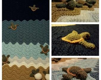 Sea turtle blanket - crochet - waves - handmade