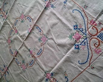 Vintage Cross Stitch Embroidered Formal Square Tablecloth RBT0144