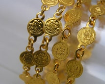 "gold plated brass coin chain Findings 29"" L"